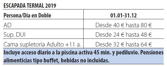 Balneario alhama de aragon tarifas 2019