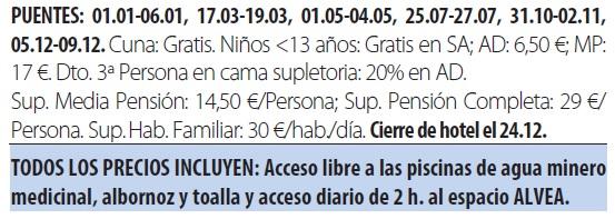 Balneario arnoia tarifas 2019