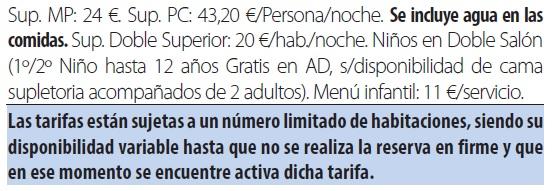 Balneario cervantes tarifas 2019