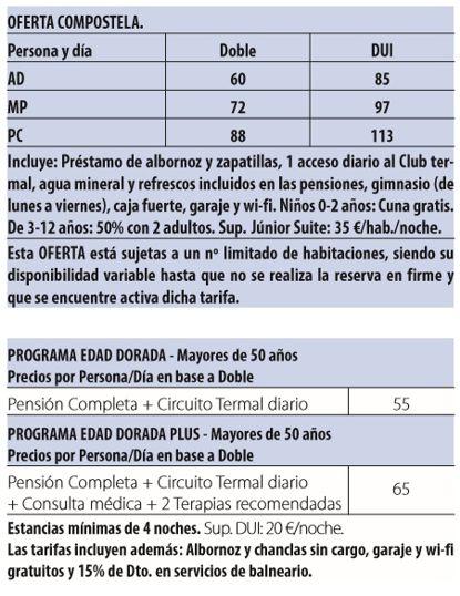 Balneario compostela tarifas 2017