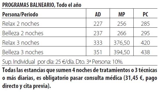 Balneario lobios tarifas 2019