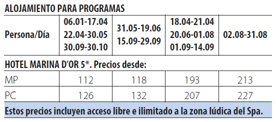 Balneario marina d´or tarifas 2019