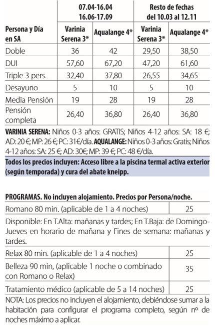 Balneario de alange tarifas 2017