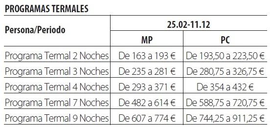 Balneario de fitero tarifas 2019