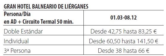 Balneario de lierganes tarifas 2019