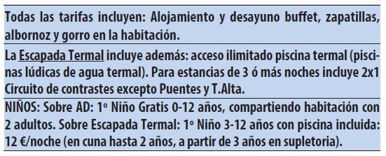 Castilla termal burgo de osma tarifas 2019