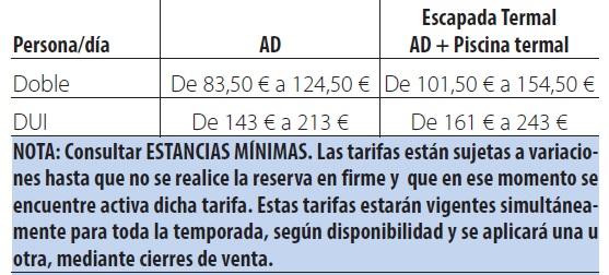 Castilla termal monasterio de valbuena tarifas 2019