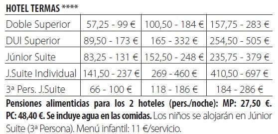 Termas pallares tarifas 2019