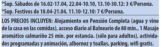 Balneario de ariño tarifas 2019