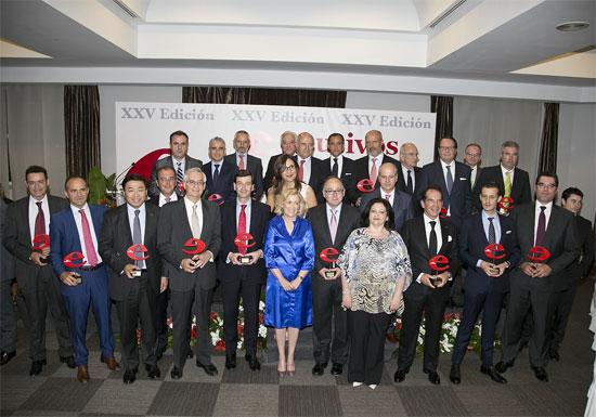 Javier Solano, presidente del Balneario de Mondariz, junto al resto de premiados.