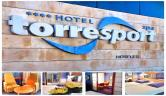 Detalle fachada y logo Hotel Torresport