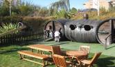 Zona de juegos para los niños terraza de verano Hotel Villa de Laguardia