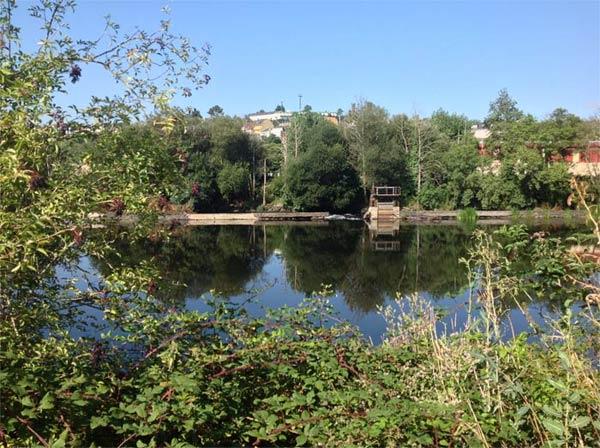 Vista del rio Miño y de los bosques que rodean al balneario