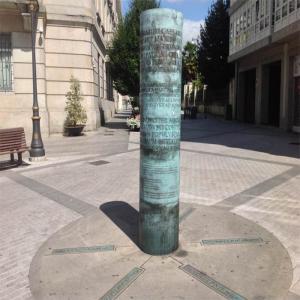 Miliario que señala las calzadas romanas que pasaban por lugo  Balneario de Lugo